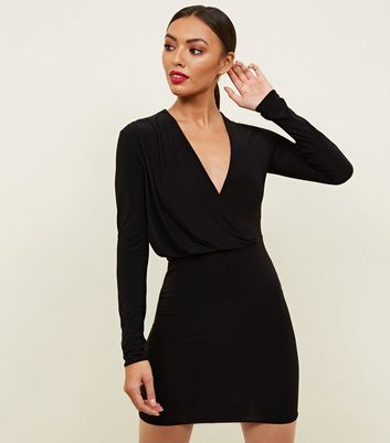 Black Wrap Around Slinky Drape Dress