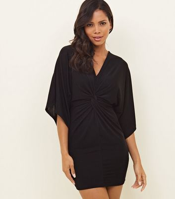 Black Twist Front Slinky Mini Dress