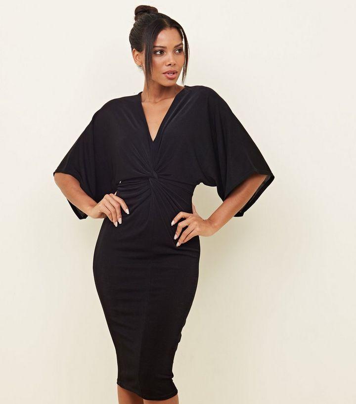 1f368717e44 Black Kimono Sleeve Twist Front Midi Dress