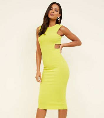 Light Green Neon Cut Out Midi Dress