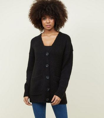 Black Button Up Oversized Cardigan