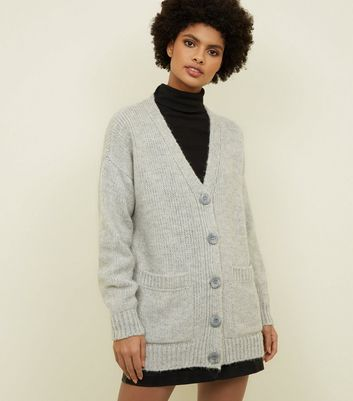 Pale Grey Button Up Oversized Cardigan