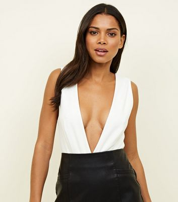 White Deep Plunge Neck Bodysuit