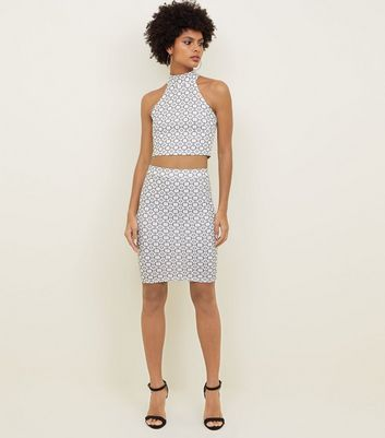 Carpe Diem White Geometric Tube Skirt
