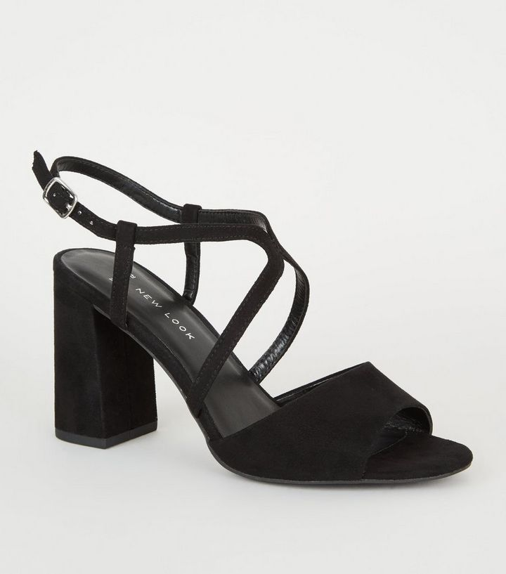 3cc216b18eb Wide Fit Black Strappy Peep Toe Block Heels Add to Saved Items Remove from  Saved Items