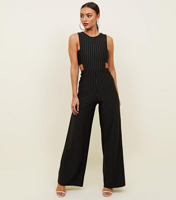0f437d5ef043 Black Pinstripe Cut Out Side Jumpsuit
