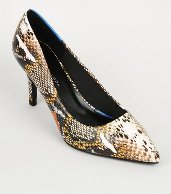 Wide Fit Multicoloured Faux Snake Courts