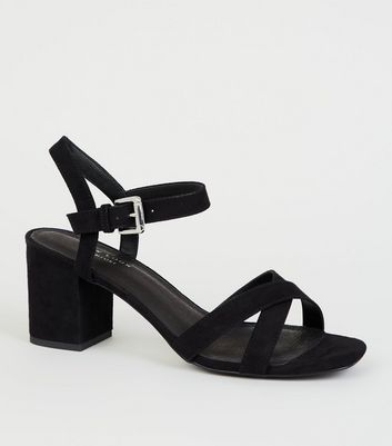 Black Comfort Flex Low Block Heel Sandals
