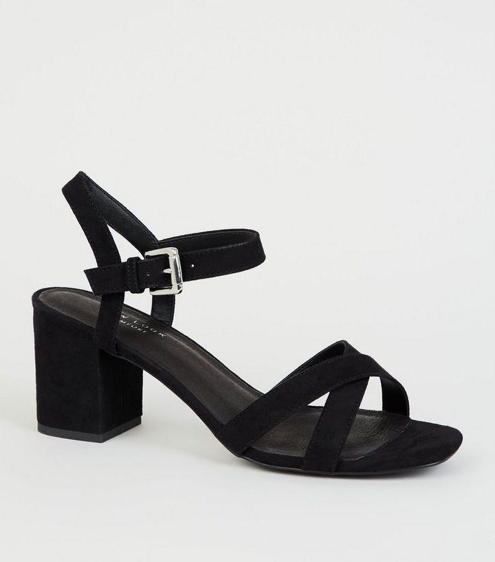 d4b608b5b7 Black Comfort Flex Low Block Heel Sandals | New Look