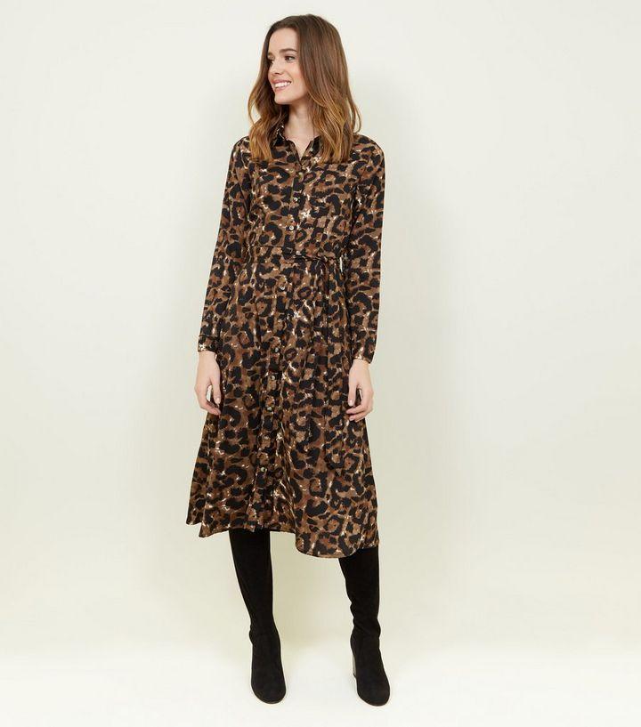 7d3025a23b3d Brown Leopard Print Long Sleeve Midi Dress