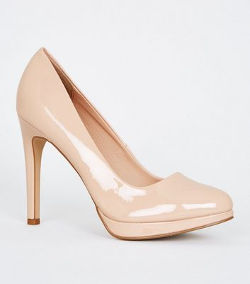 Nude Patent Platform Stiletto Heel