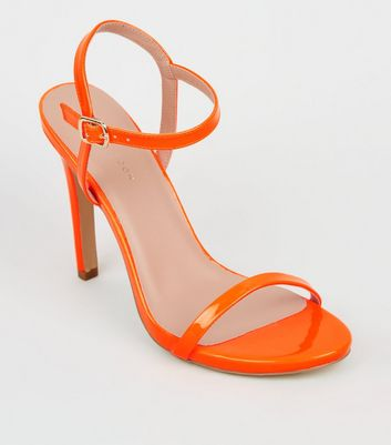 Orange Neon Patent Barely There Stiletto Sandals