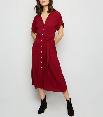 Plum Button Front Midi Dress