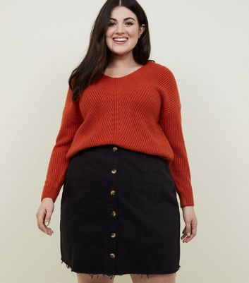 Curves Black Denim Faux Horn Button Denim Skirt