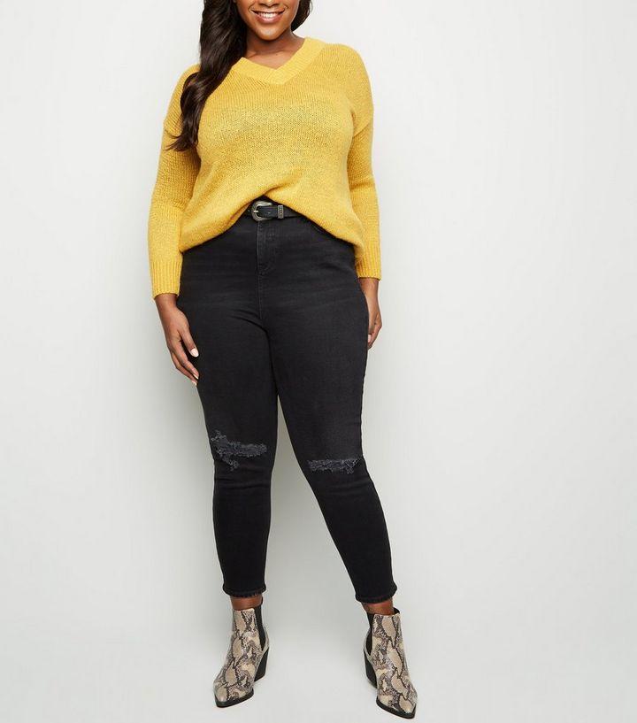 015f6baebe Curves Black Ripped Knee Slim Leg Mom Jeans
