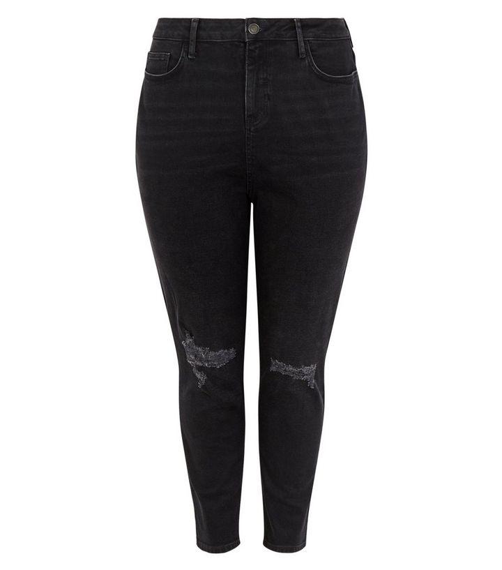 bffd92856e ... Curves Black Ripped Knee Slim Leg Mom Jeans. ×. ×. ×. Shop the look