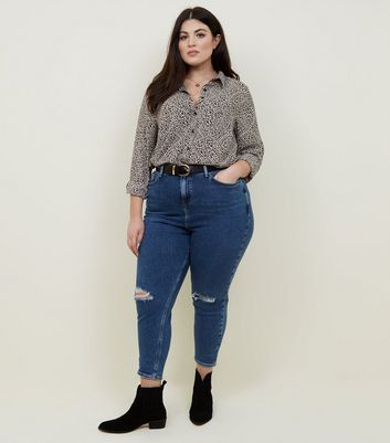 Curves Blue Ripped Knee Slim Leg Mom Jeans