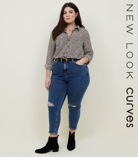 ... Curves Blue Ripped Knee Slim Leg Mom Jeans ... 98951b458fcb