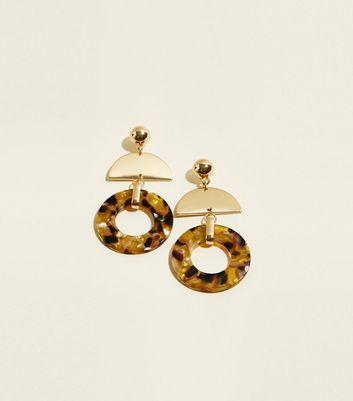 Yellow Faux Tortoiseshell Resin Ring Chandelier Earrings by New Look