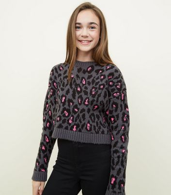 Girls Grey Neon Colour Pop Leopard Print Jumper