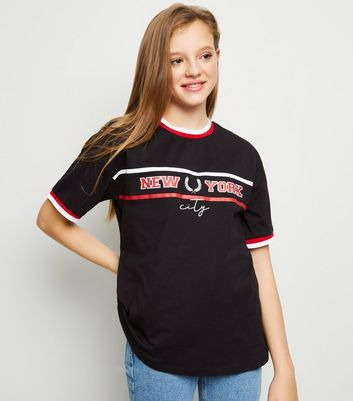 Girls Black NY Slogan Oversized T-Shirt