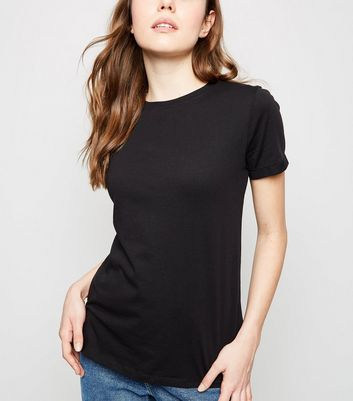 Black Organic Cotton Roll Sleeve T-Shirt