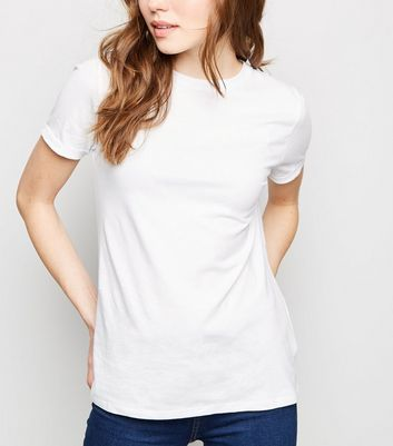 White Organic Cotton Roll Sleeve T-Shirt