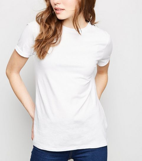 0727509afb6158 ... White Organic Cotton Roll Sleeve T-Shirt ...