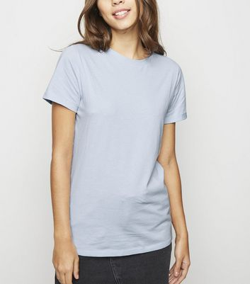 Pale Blue Organic Cotton Roll Sleeve T-Shirt