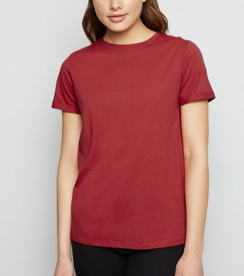 a4c6e7555fae ... Dark Red Organic Cotton Roll Sleeve T-Shirt ...