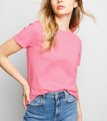 Bright Pink Organic Cotton Roll Sleeve T-Shirt