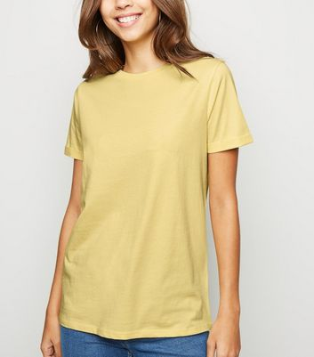 Pale Yellow Organic Cotton Roll Sleeve T-Shirt