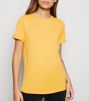 Mustard Organic Cotton Roll Sleeve T-Shirt
