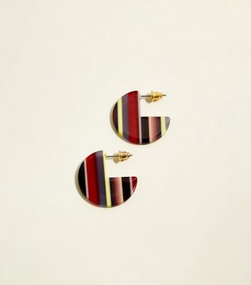 Red Stripe Resin Disc Earrings by New Look