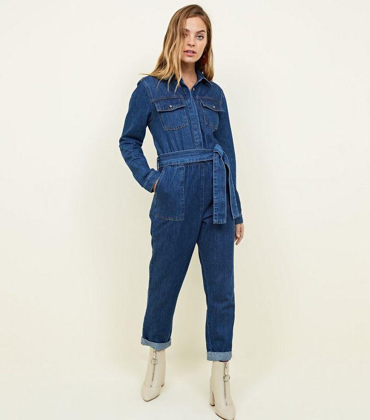 8191d1681845 Petite Blue Denim Long Sleeve Utility Jumpsuit