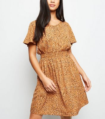 Petite Mustard Spot Print Satin Shirred Waist Dress