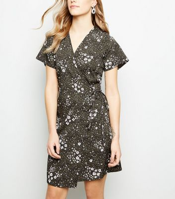 Petite Khaki Floral Wrap Mini Dress