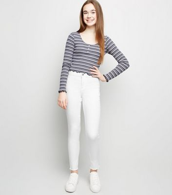 Girls – Superenge Skinny Jeans in Weiß mit High Waist