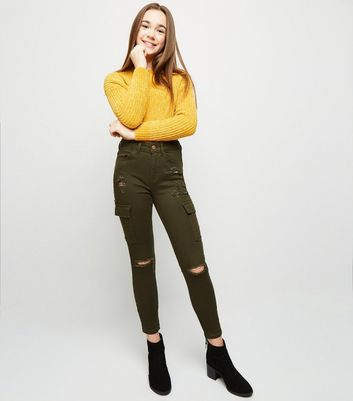 Girls Khaki Utility Pocket Ripped Skinny Jeans