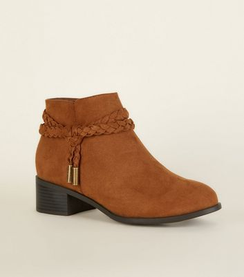 Girls Tan Suedette Woven Strap Ankle Boots