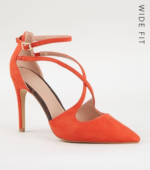 3a671096de0a ... Wide Fit Orange Suedette Cross Strap Heels ...