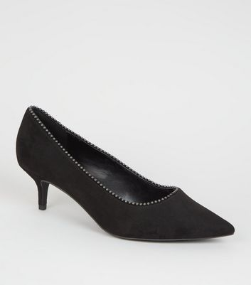 Wide Fit Black Ball Studded Kitten Heel Courts