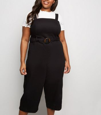 Curves Black Ring Belt Cropped Denim Jumpsuit
