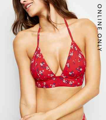 Red Ditsy Floral Longline Triangle Bikini Top