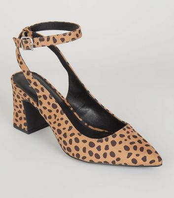 Wide Fit Brown Leopard Print Ankle Strap Courts