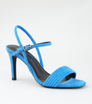 Wide Fit Bright Blue Tube Strap Stiletto Sandals