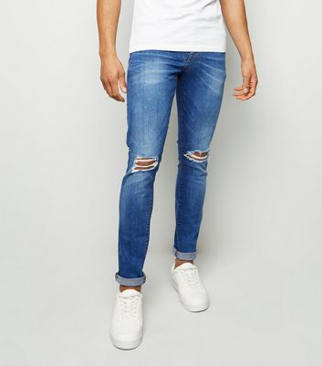 Bright Blue Ripped Knee Skinny Jeans
