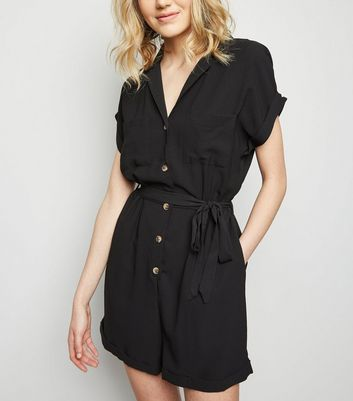 Black Revere Collar Belted Playsuit