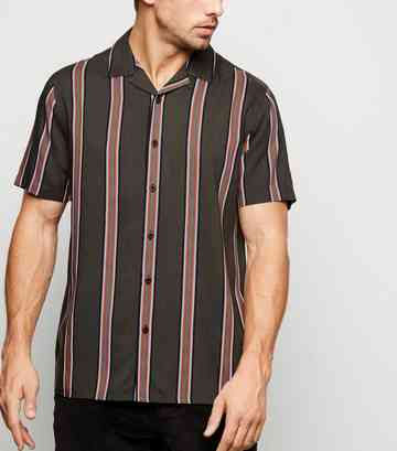 Khaki Stripe Short Sleeve Shirt