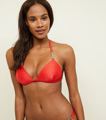Red Slinky Chain Strap Halterneck Bikini Top